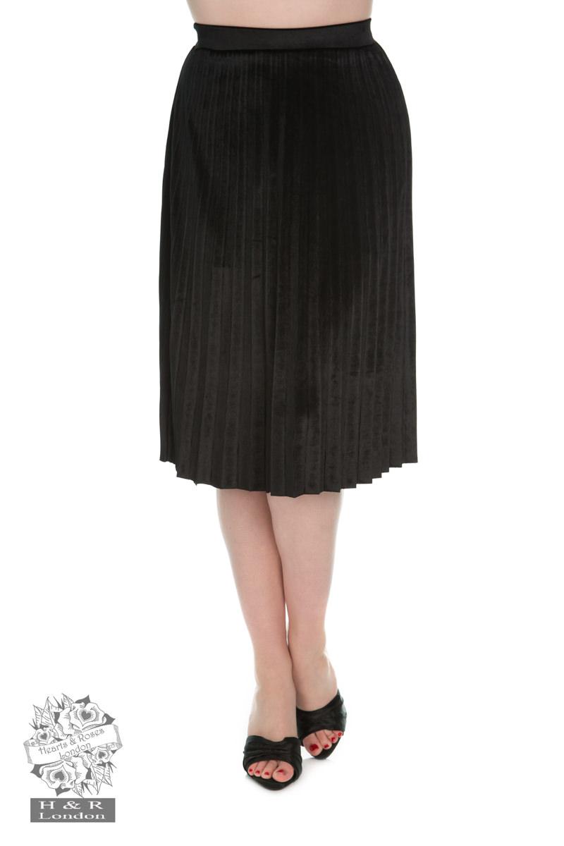 Black Pleated Velvet Skirt