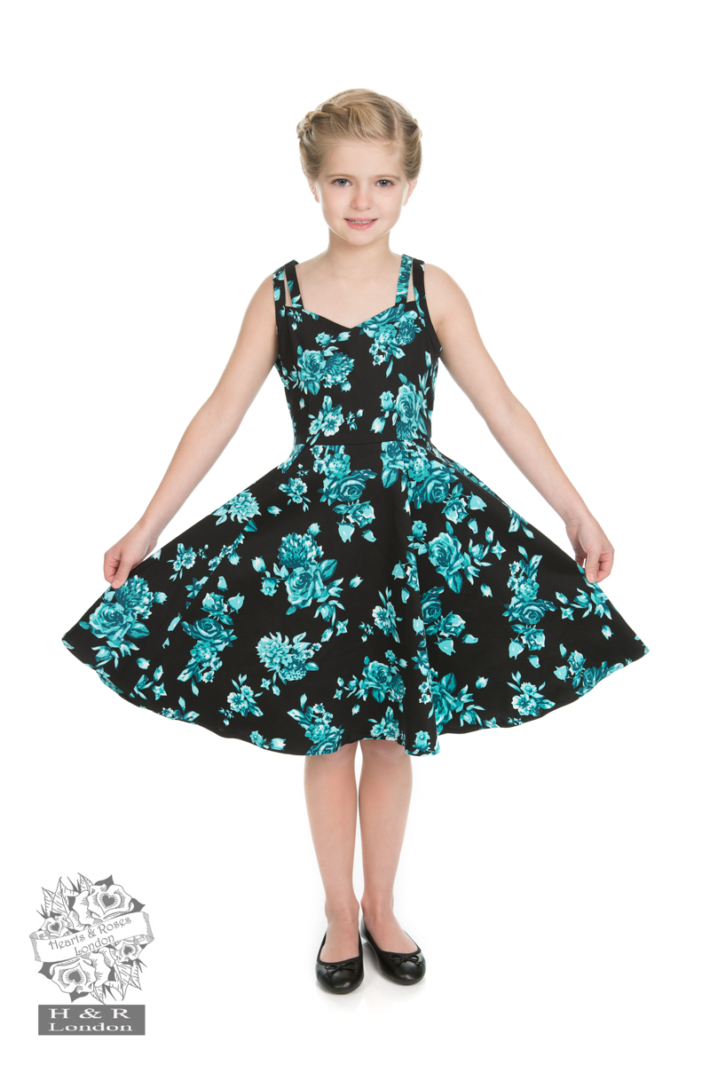 Girls Black Rosaceae Swing Dress