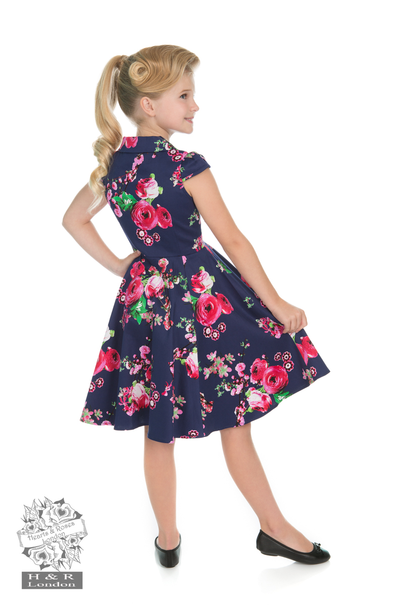 Girls Midnight Garden Floral Tea Dress