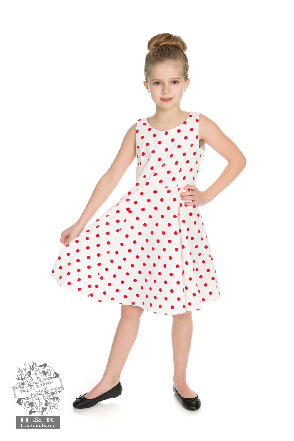 Girls Cindy Polka Dot Swing Dress in White