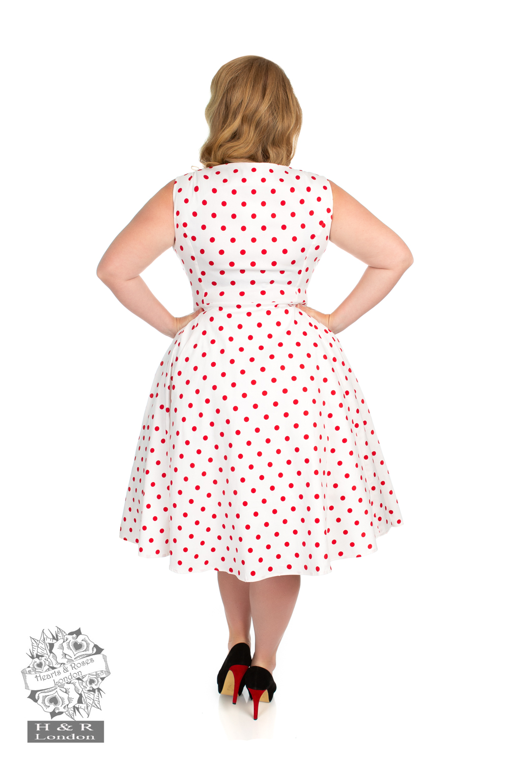 Cindy Polka Dot Swing Dress in White