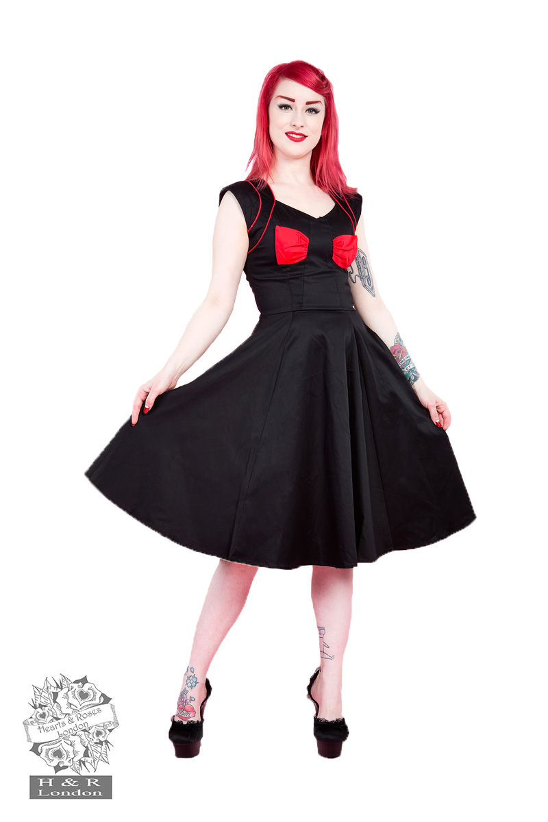 Black Red Bow Lady Hepburn Dress