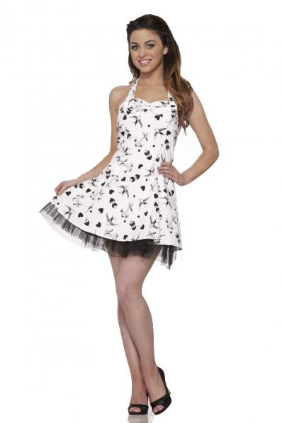 White Black Tattoo Print Dress