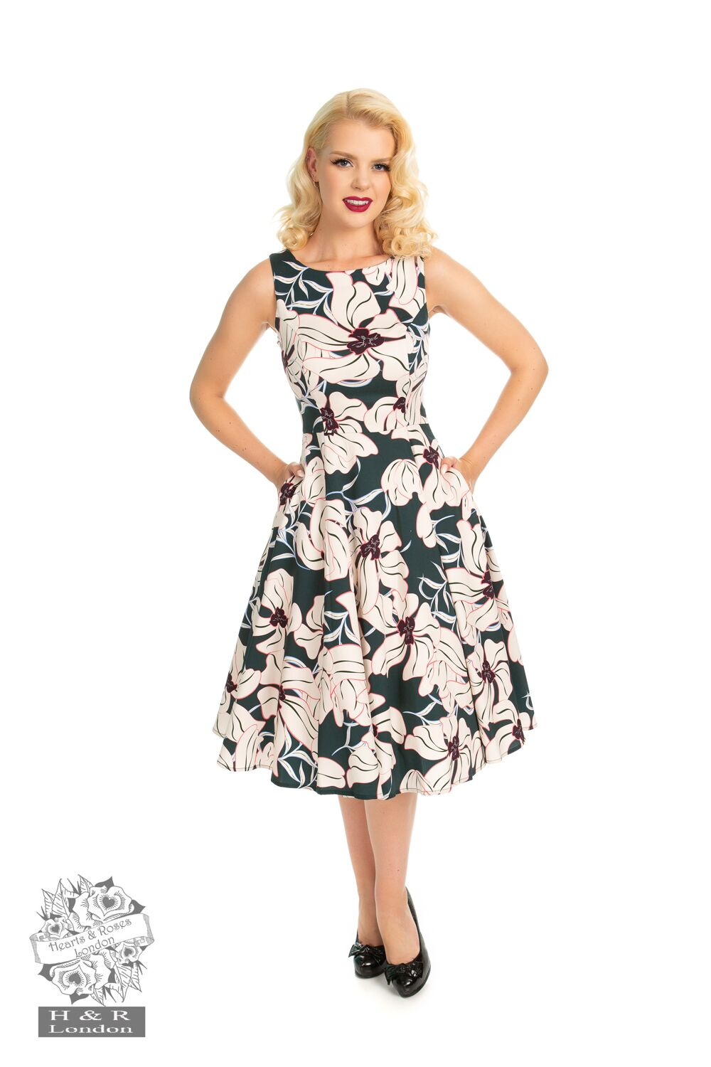 Emerald Floral Swing Dress