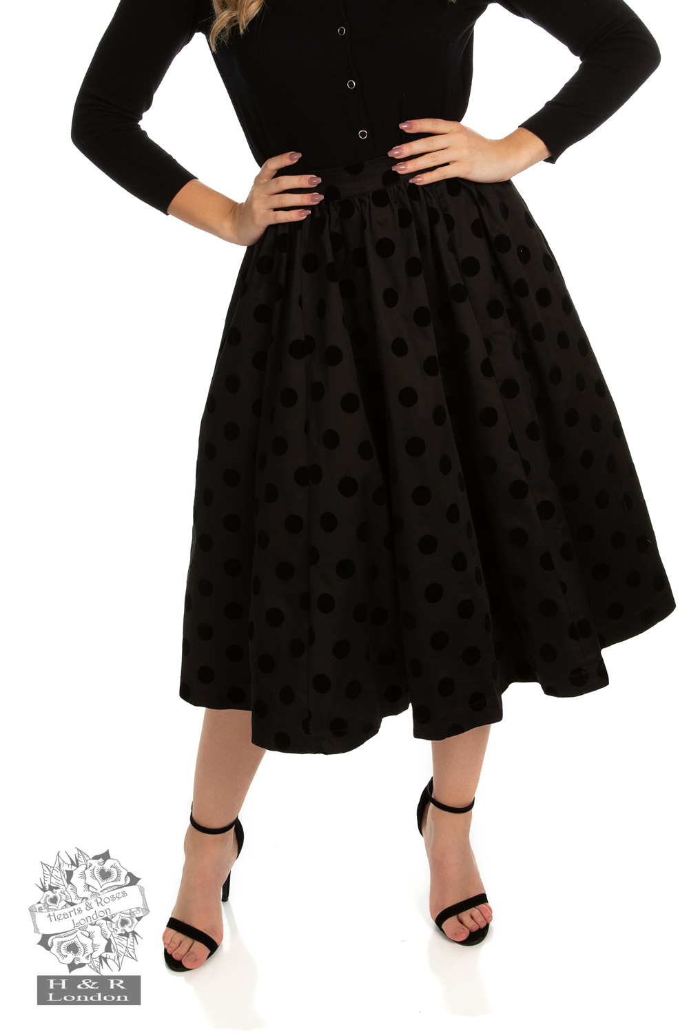 Suzie Swing Skirt in Black Flocking