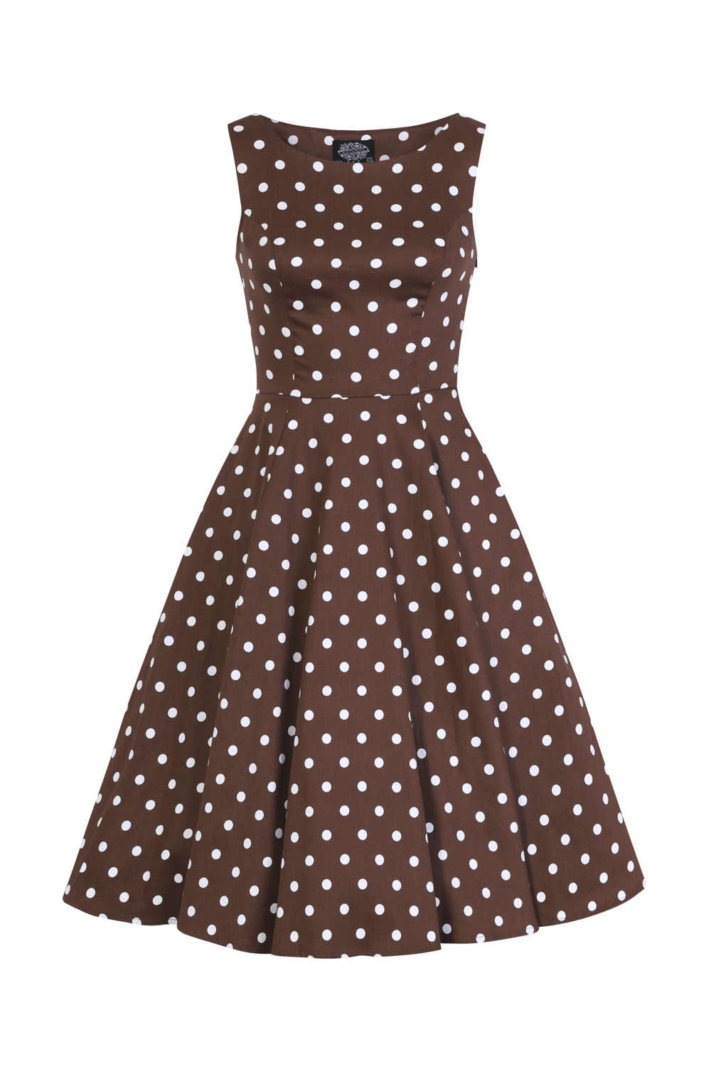 Cindy Polka Dot Swing Dress in Chocolate Brown