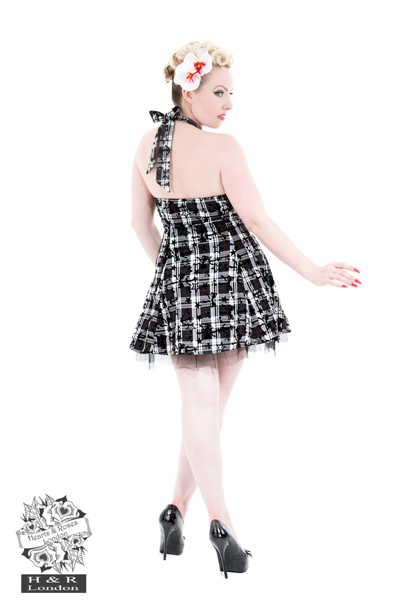Kiara White Flocked Tartan Dress