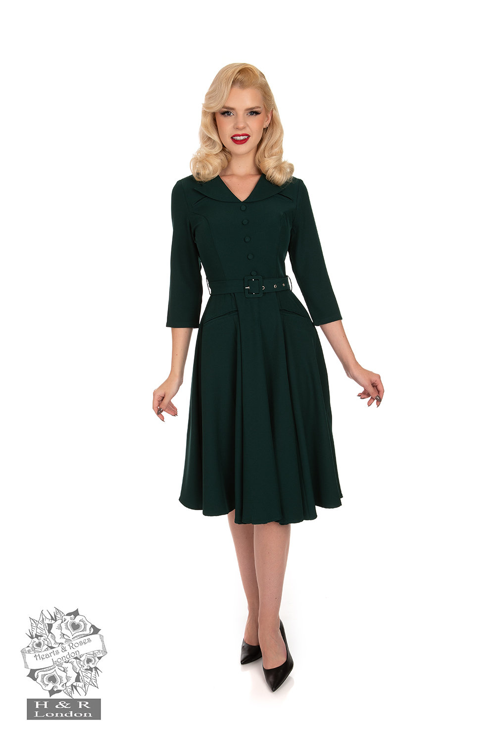 Gabriella Swing Dress in Emerald Green