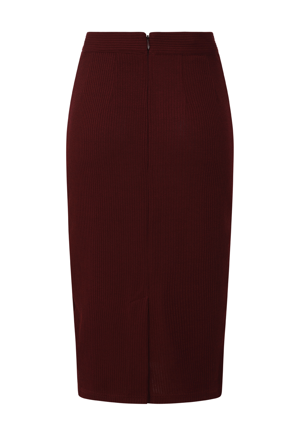Sally Knitted Wiggle Skirt in Burgundy