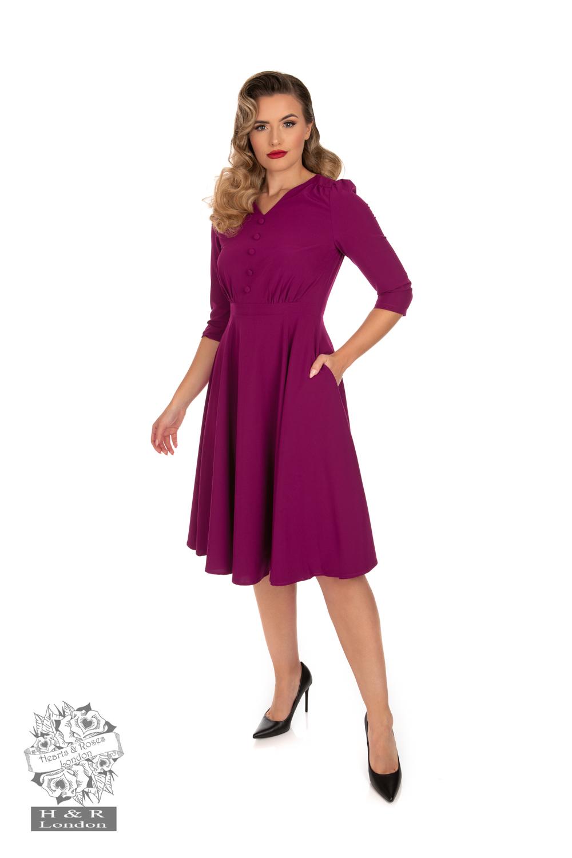 Pretty Plum 50s Swing Dress