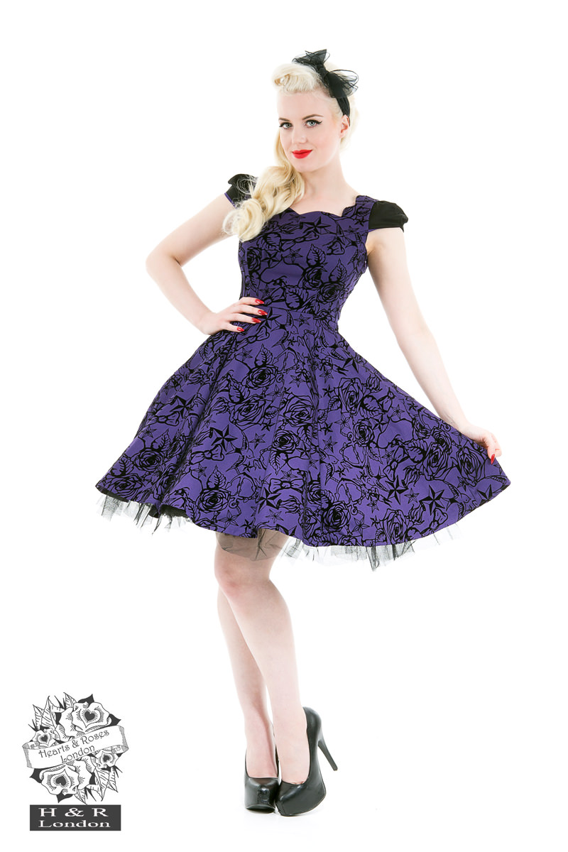 Purple Flocked Evening Swing Dress