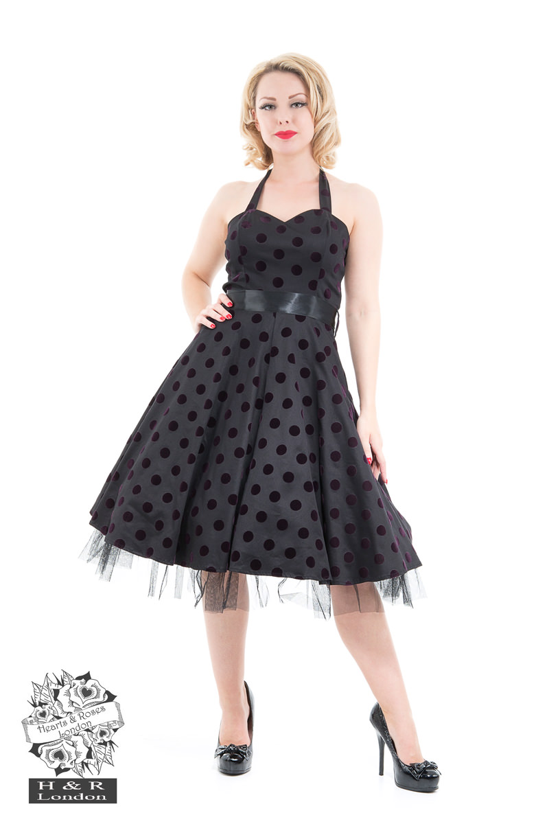 Black Purple Flocked Polka Dot Swing Dress