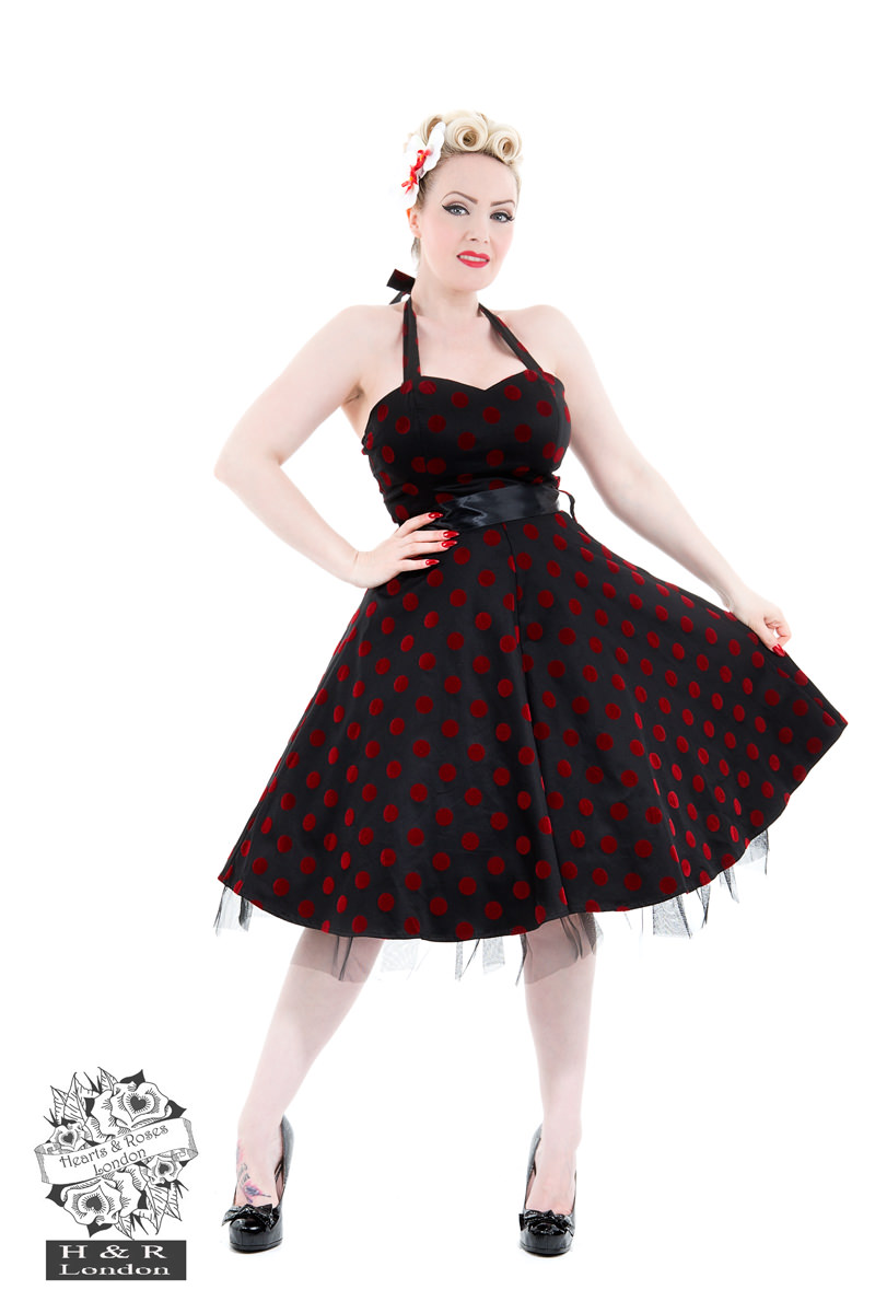 Black Red Flocked Polka Dot Swing Dress
