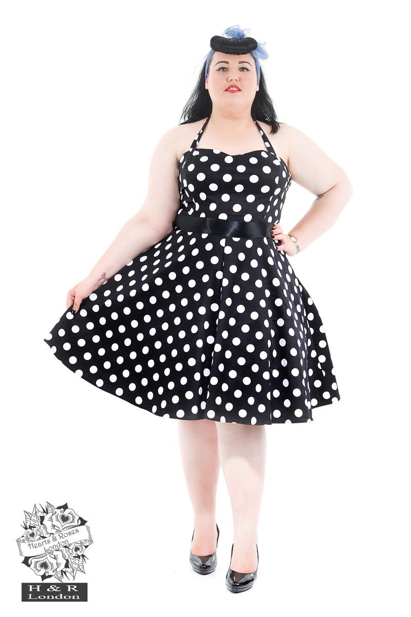 7543dda672960 Black White Large Polka Dot Swing Dress in Black/White - Hearts ...