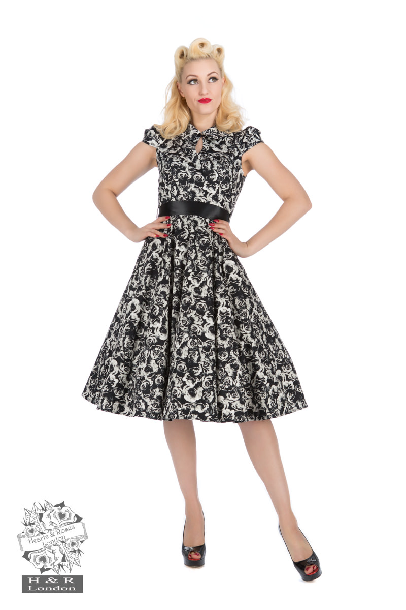 Black Cream Rose Tea Dress