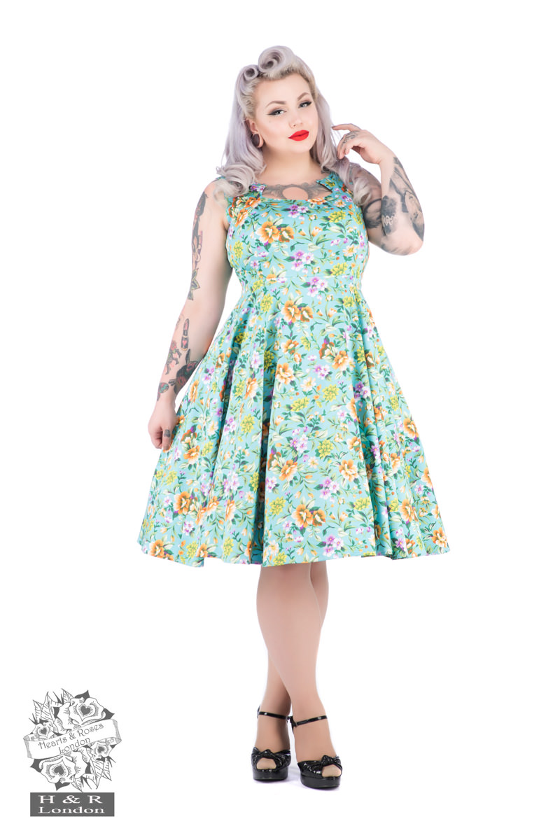 Turquoise Ella Floral Swing Dress