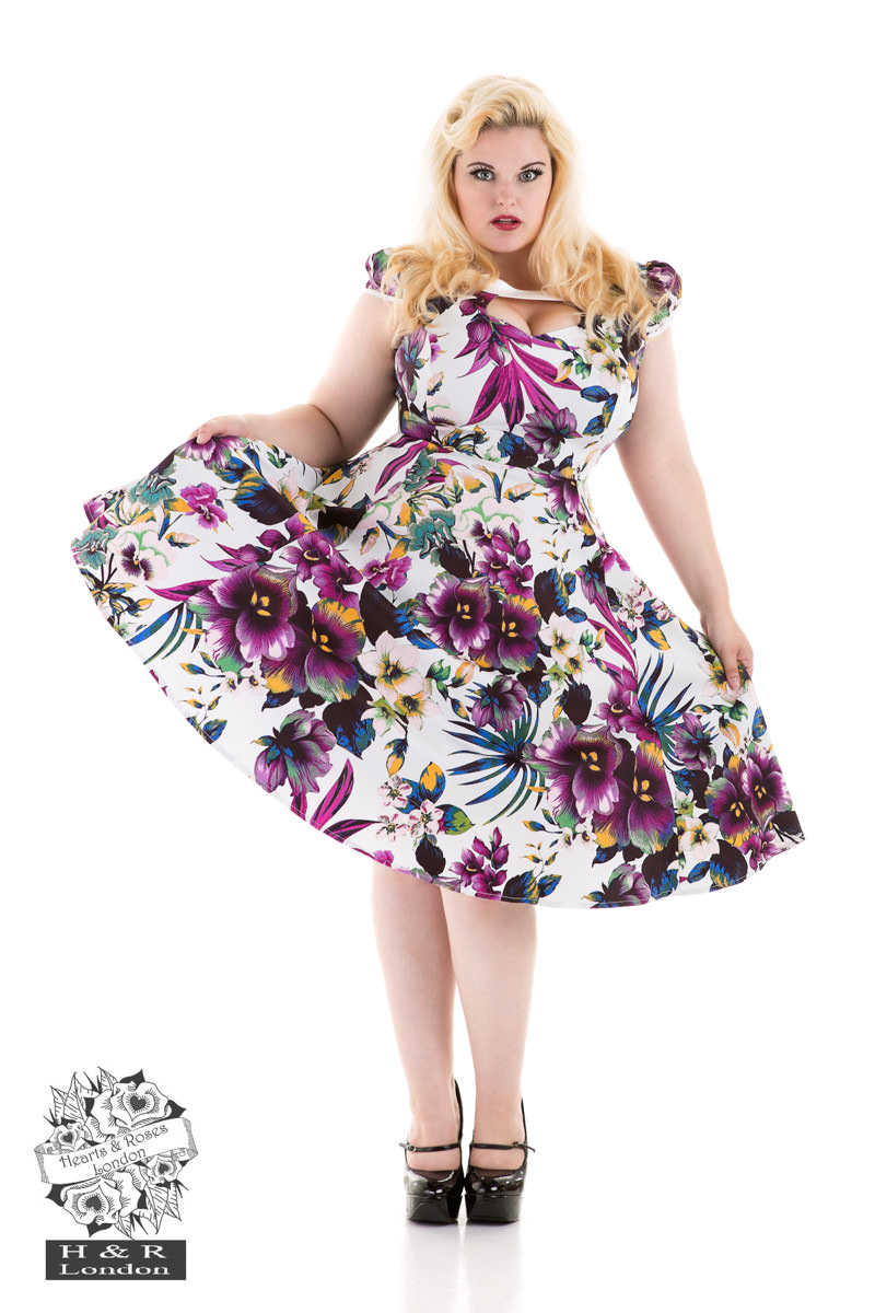 84668a800058 White Purple Pansies Floral Swing Dress in White Blue - Hearts ...