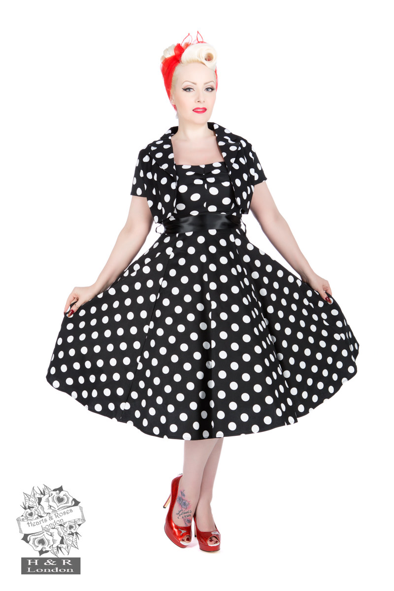 bed0bfec8ba35 Black White Big Dot Swing Dress With Bolero in Black/White - Hearts ...