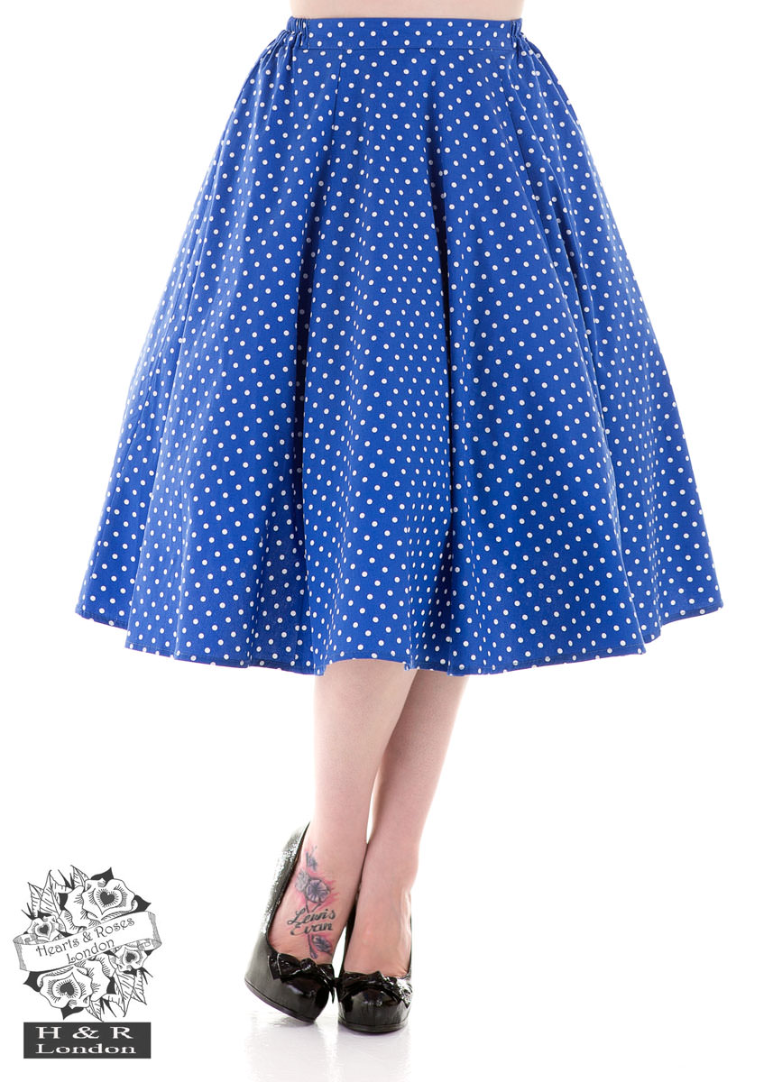 Blue White Small Dot Skirt