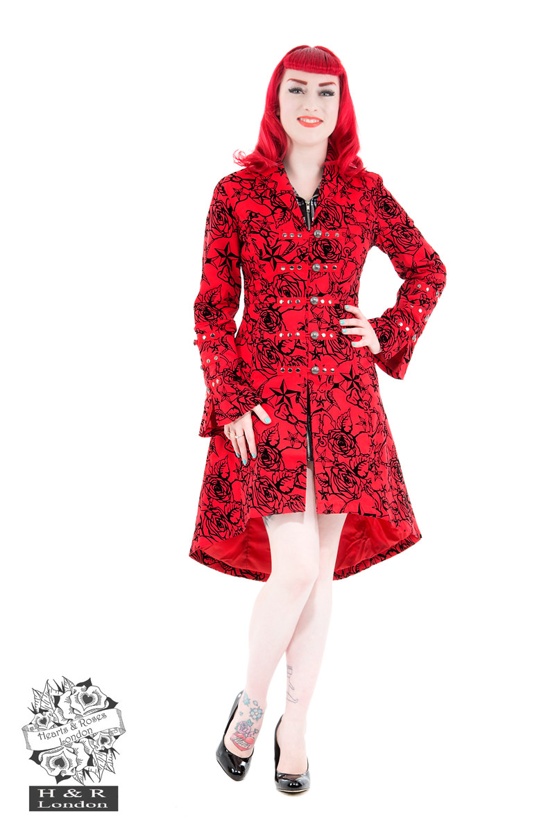 Red Flocked Tattoo Coat