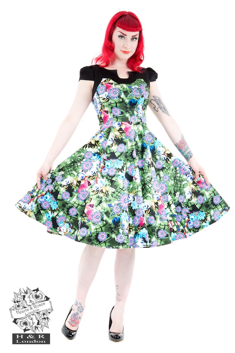 8566c0f7f37e Green Crop Floral Swing Dress in Black Grey - Hearts   Roses London
