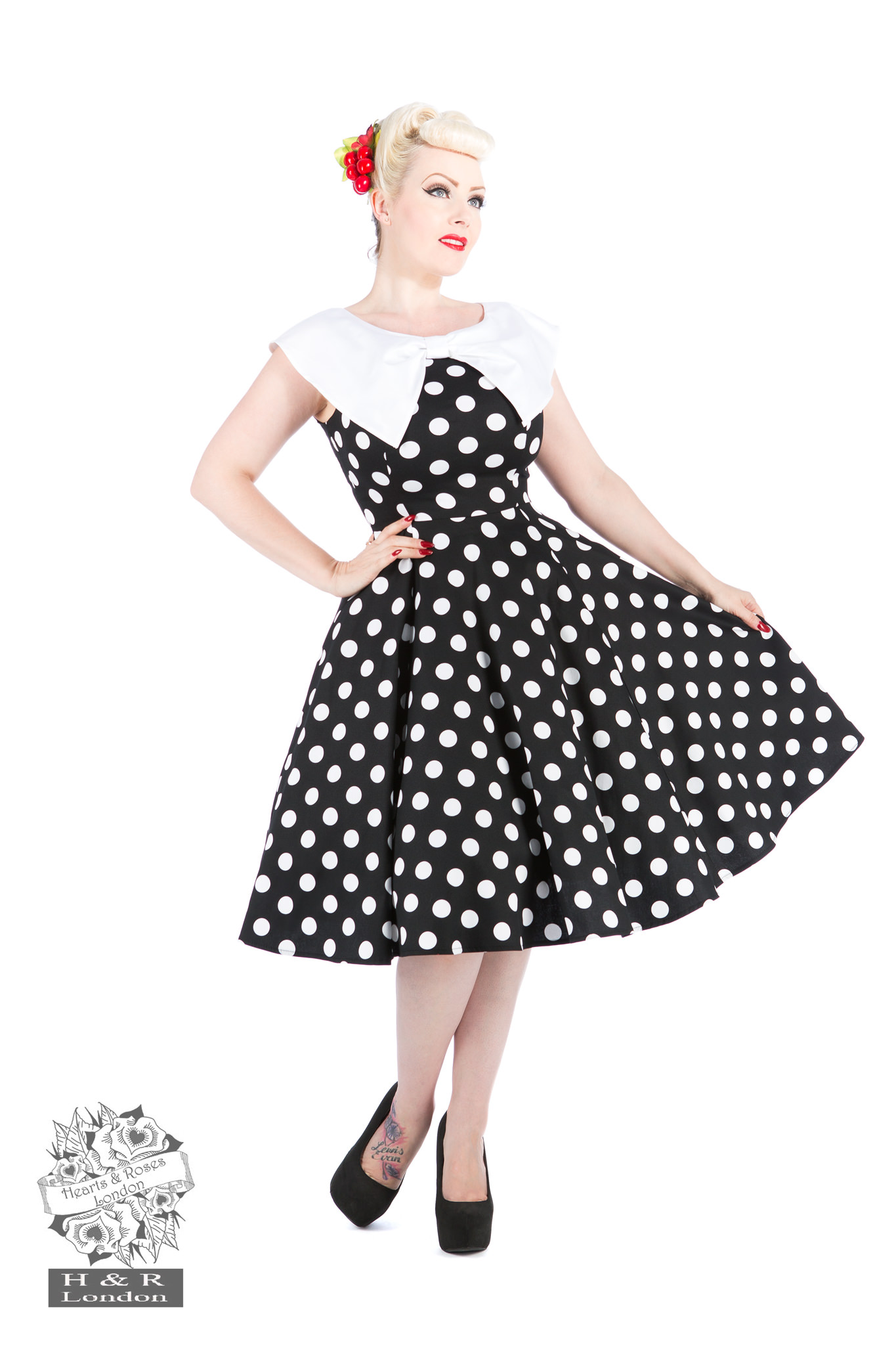 Black White large Polka Dot Swing Dress