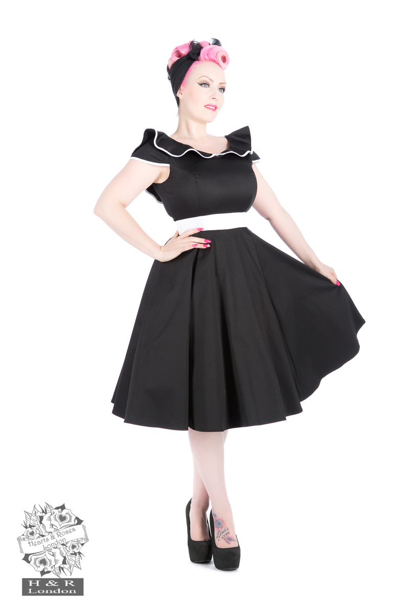 50s Black Flute Collar Dress