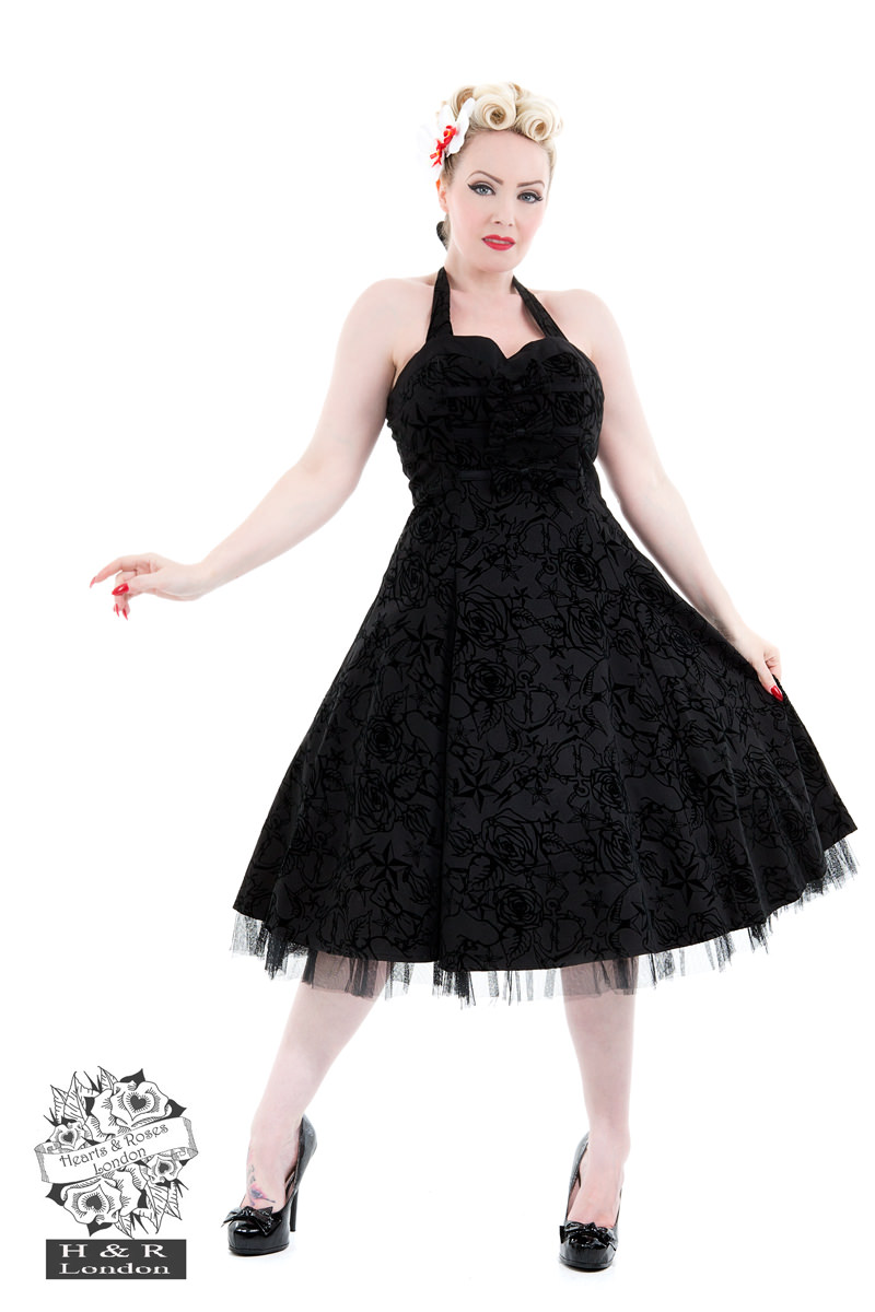 Black Taffeta Flocked Halter Dress
