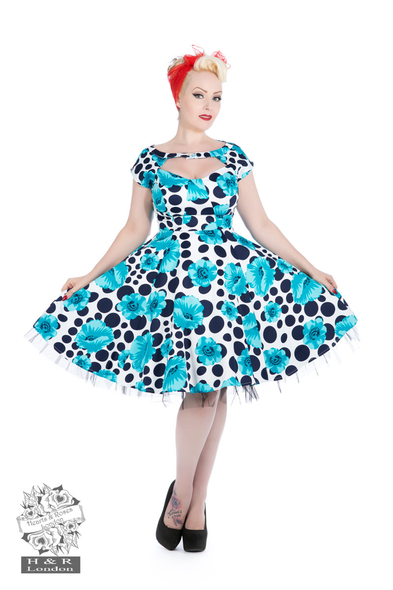 Poppy Blue Dot Day Dress