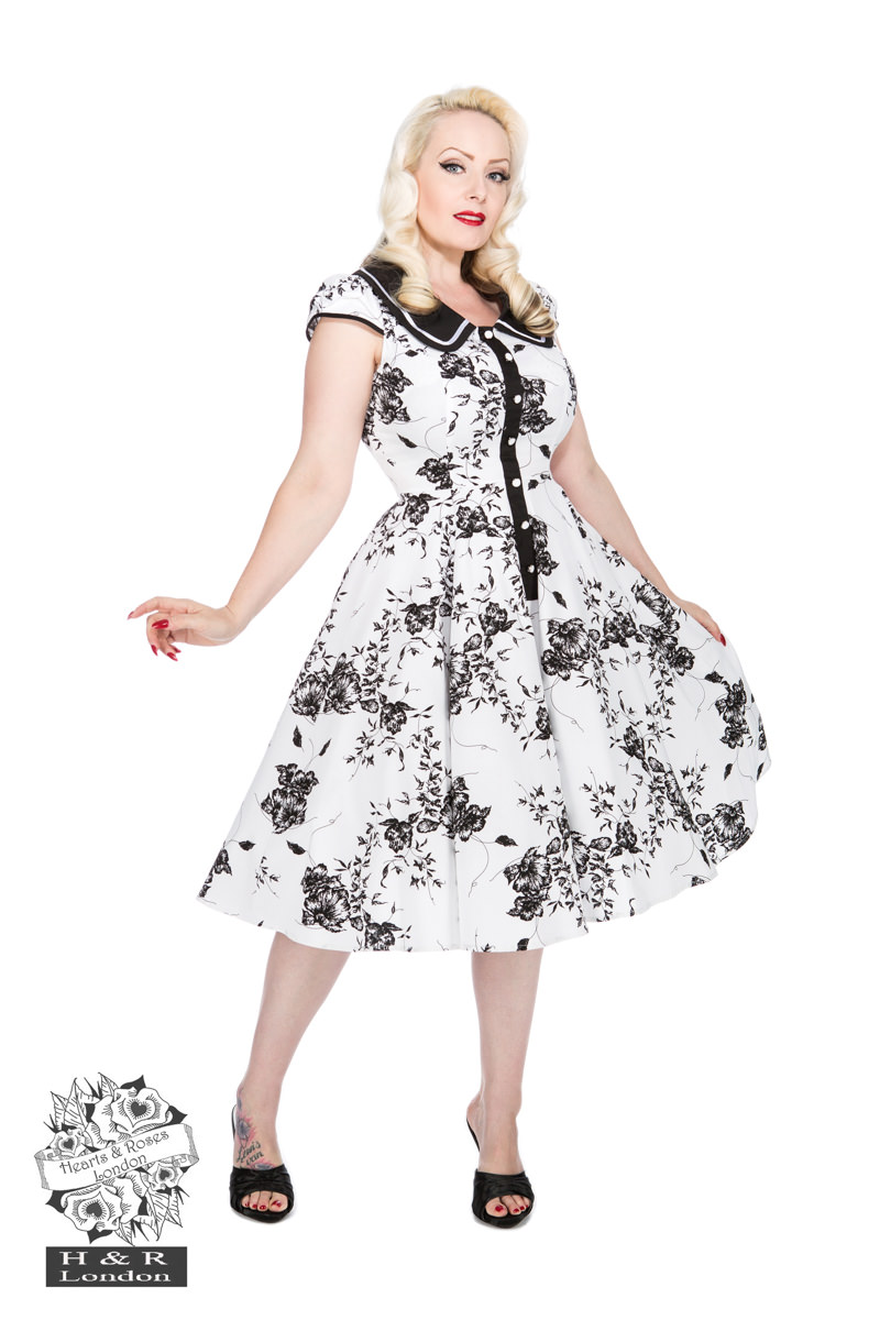 Tonal White Black Floral Day Dress