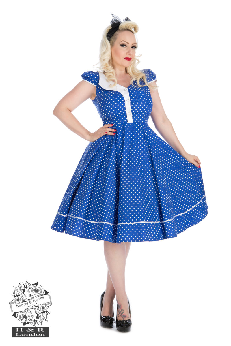 Blue White Polka Dot Panel Swing Dress