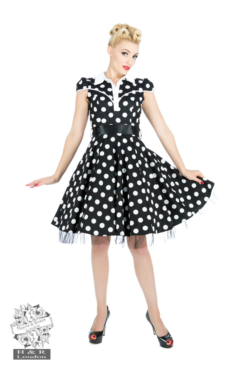 Black White Big Polka Dot Long Dress