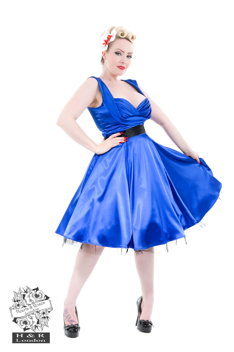 Blue Satin 50s Prom Swing Dress