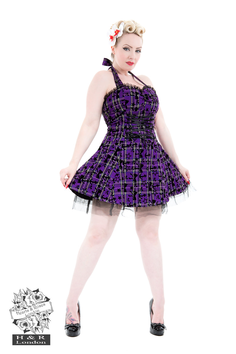 Kiara Purple Flocked Tartan Dress