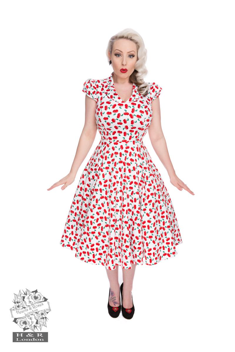 Royal Ann Cherry Dress In White