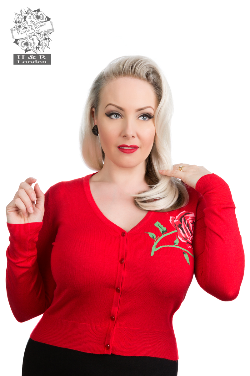 Rose Print Cardigan In Red