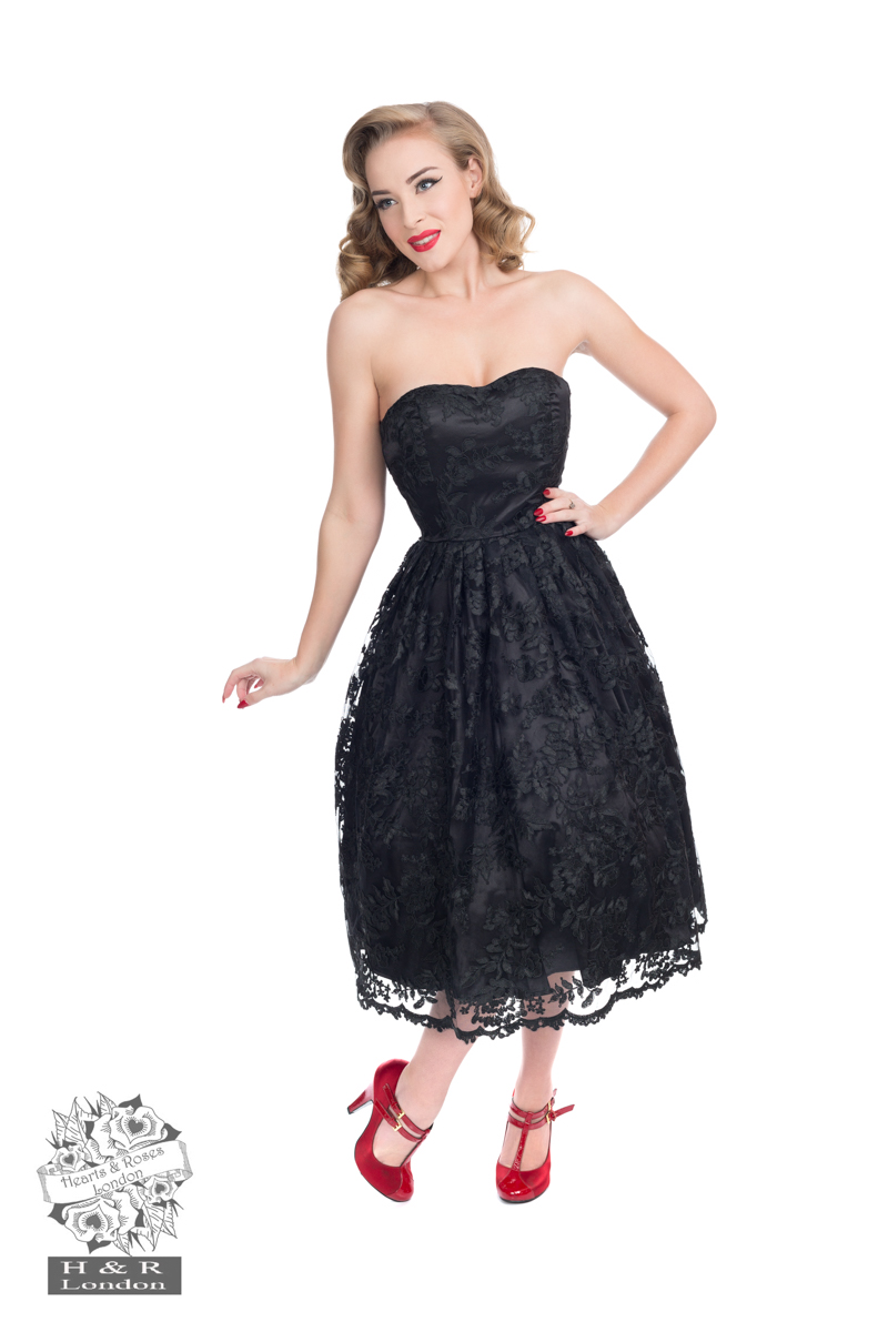 Black Chantilly Lace Strapless Dress