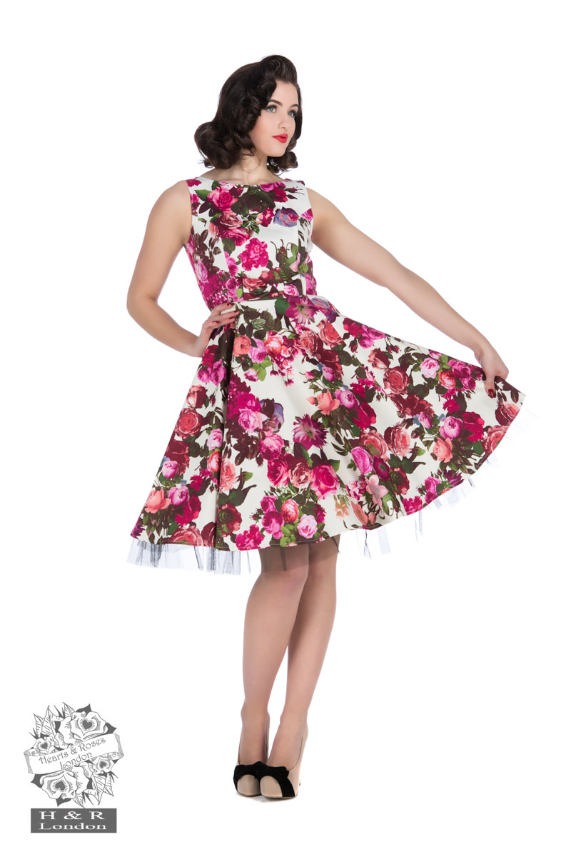 Audrey 50s Cream Floral Swing Dress