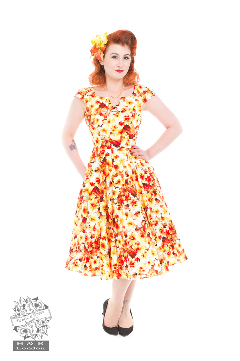Echinacea Gold Floral Swing Dress