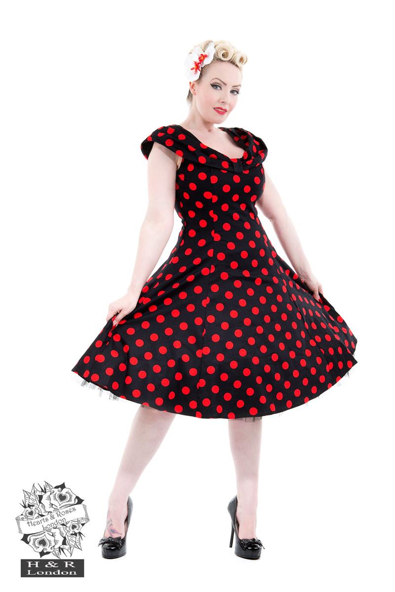 1f058c830cf Black Red Large Polka Dot Off Shoulder Dress in Black Red - Hearts ...