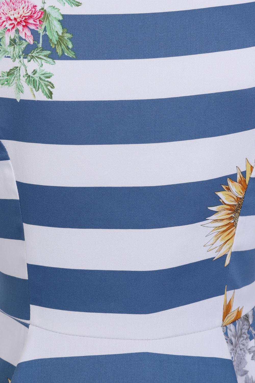 Blue Striped Sunflower Dress In Multicolor Hearts