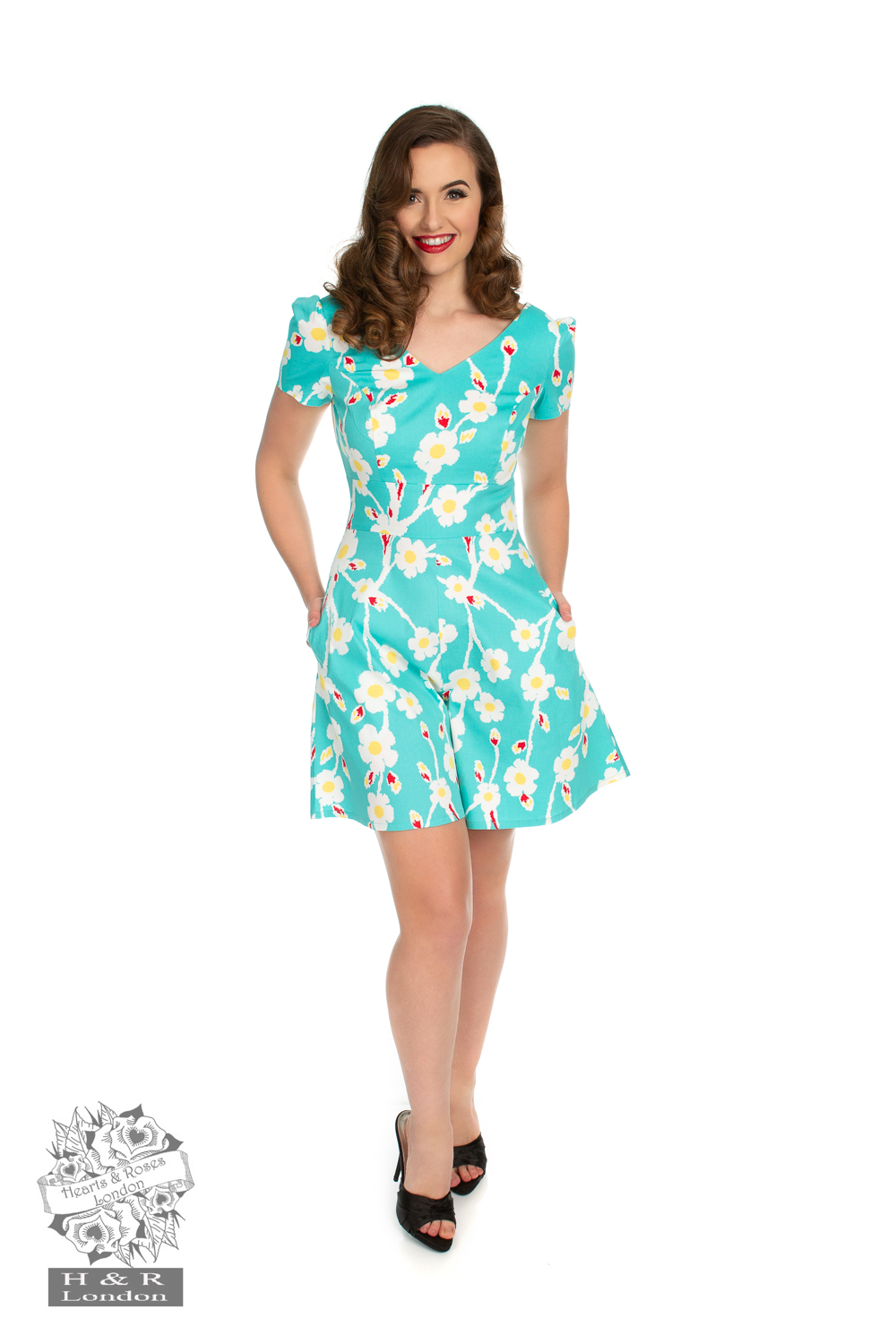 Turquoise Floral Playful Playsuit