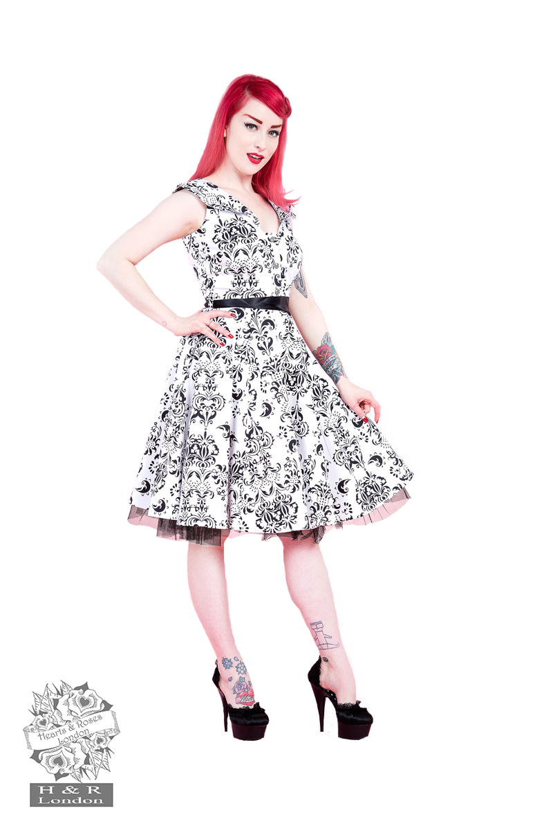 White Black Wall Floral Swing Dress