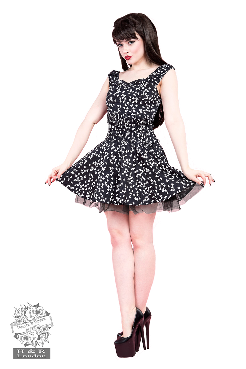 Petite Black Butterfly Mini Dress