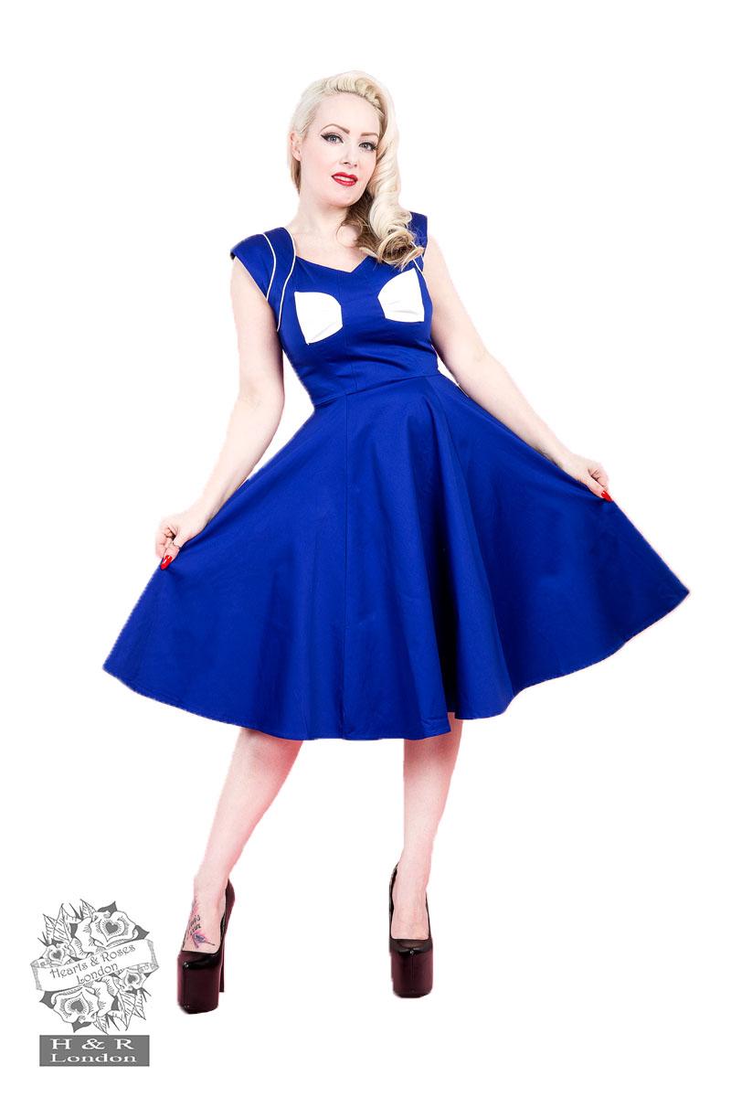 Blue White Bow Lady Hepburn Dress In Blue White Hearts
