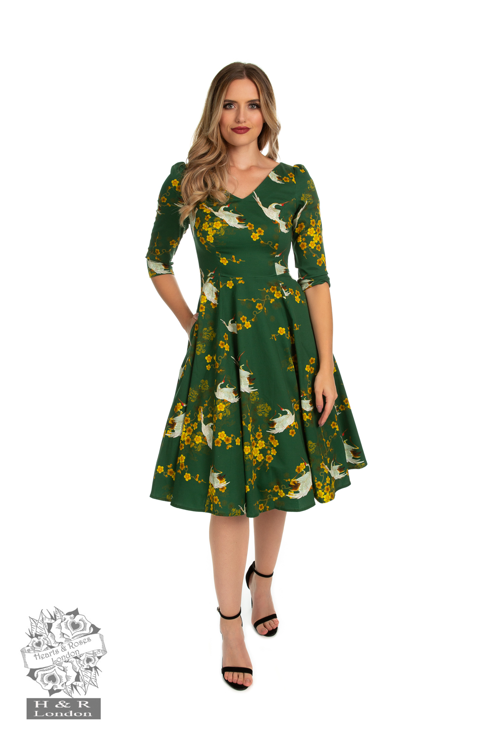 Green Blossom Swing Dress
