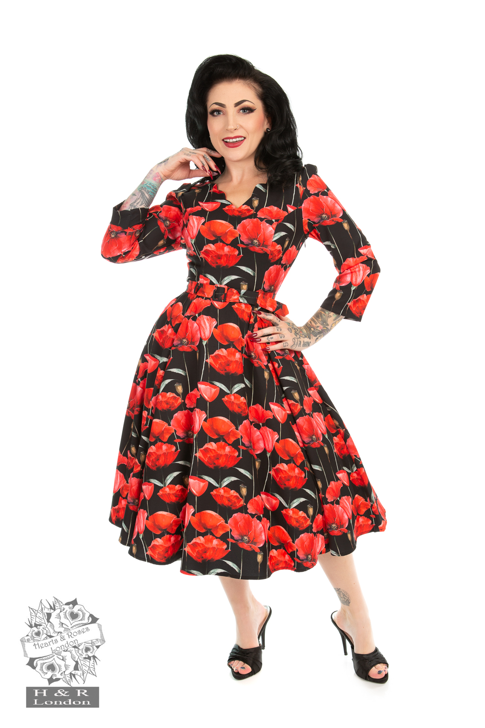 Sweet Poppy Swing Dress in Black
