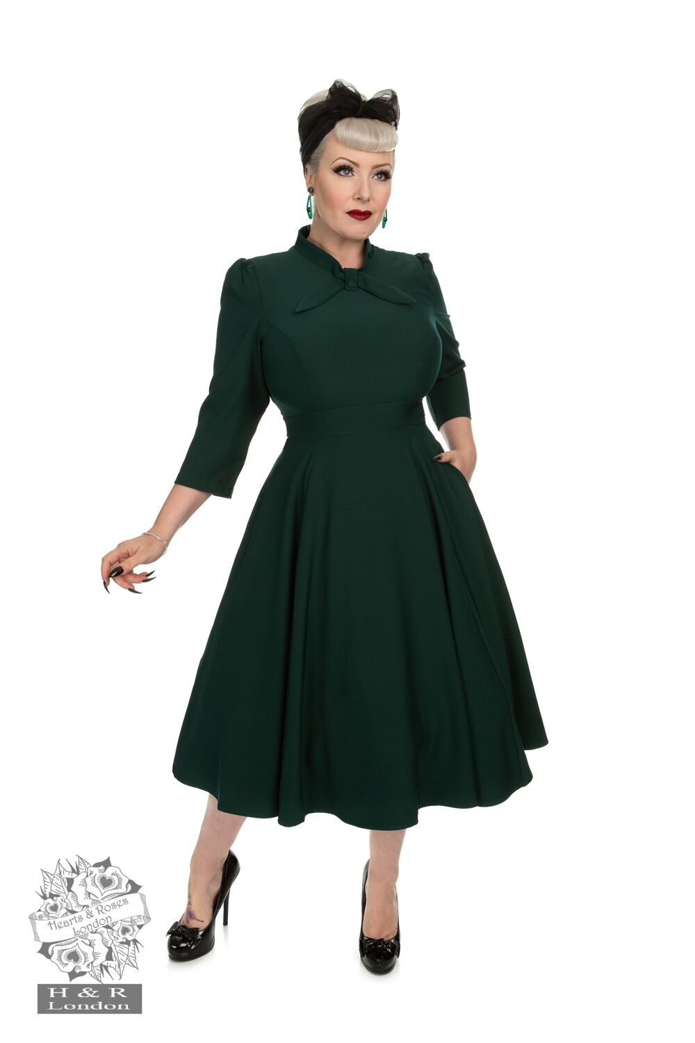 Victoria Swing Dress In Petrol Green